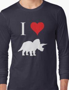 I Love Dinosaurs - Triceratops (white design) Long Sleeve T-Shirt