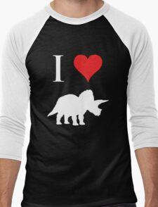 I Love Dinosaurs - Triceratops (white design) Men's Baseball ¾ T-Shirt