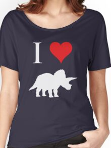 I Love Dinosaurs - Triceratops (white design) Women's Relaxed Fit T-Shirt