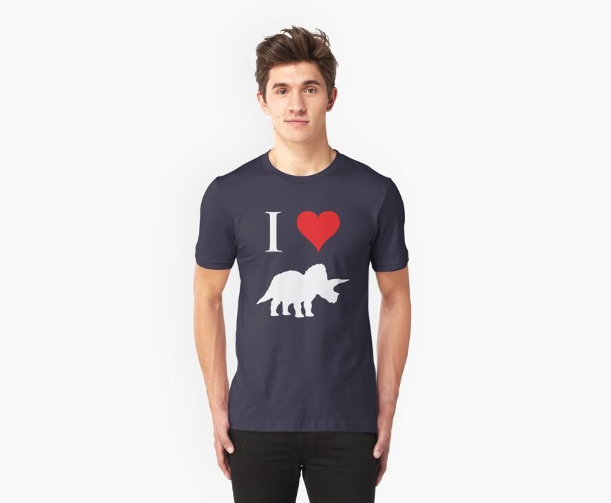 I Love Dinosaurs - Triceratops (white design) by jezkemp