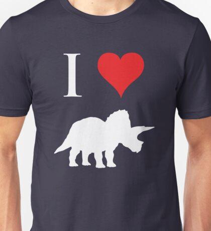 I Love Dinosaurs - Triceratops (white design) Unisex T-Shirt
