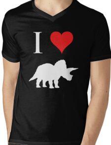 I Love Dinosaurs - Triceratops (white design) Mens V-Neck T-Shirt