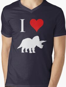 I Love Dinosaurs - Triceratops (white design) Mens V-Neck T-Shirt