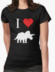 I Love Dinosaurs - Triceratops (white design) Womens Fitted T-Shirt