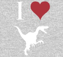 I Love Dinosaurs - Velociraptor (white design) One Piece - Long Sleeve