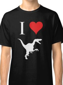 I Love Dinosaurs - Velociraptor (white design) Classic T-Shirt