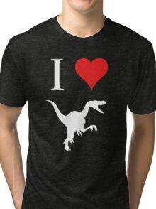 I Love Dinosaurs - Velociraptor (white design) Tri-blend T-Shirt