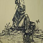 Japanese woman geisha drawing pen and ink by Irisangel