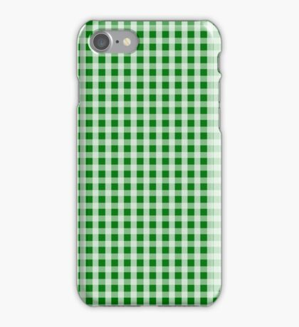 Christmas Green Gingham Check Pattern iPhone Case/Skin
