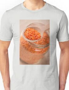 Portion of red lentils on wooden spoon Unisex T-Shirt