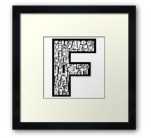 Letter F, white background Framed Print