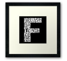 Letter F, black background Framed Print