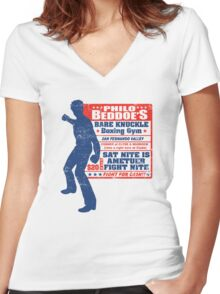 Philo Beddo's Bareknuckle Boxing Gym Women's Fitted V-Neck T-Shirt