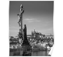 Prague Castle and Calvary Statue Poster