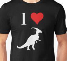 I Love Dinosaurs - Parasaurolophus (white design) Unisex T-Shirt