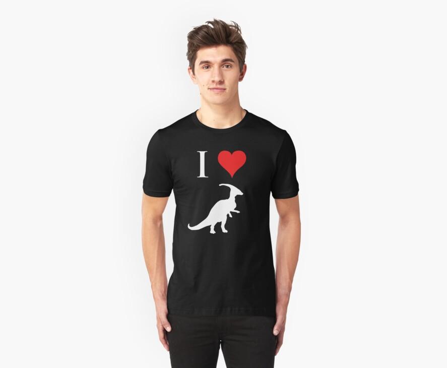 I Love Dinosaurs - Parasaurolophus (white design) by jezkemp