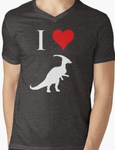 I Love Dinosaurs - Parasaurolophus (white design) Mens V-Neck T-Shirt