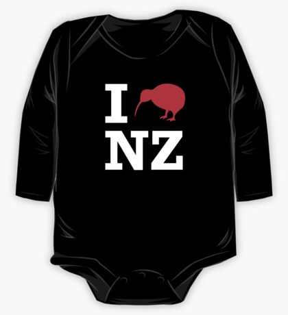 I Love New Zealand (Kiwi) white design One Piece - Long Sleeve