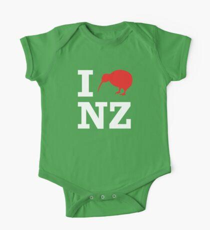 I Love New Zealand (Kiwi) white design One Piece - Short Sleeve