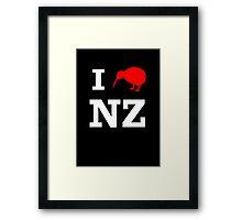 I Love New Zealand (Kiwi) white design Framed Print