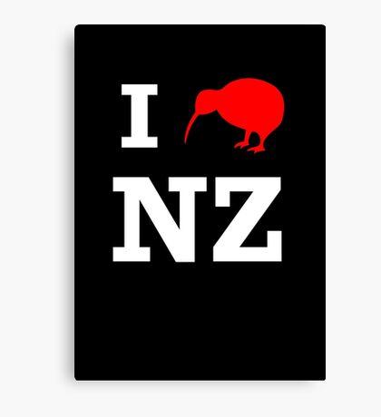 I Love New Zealand (Kiwi) white design Canvas Print