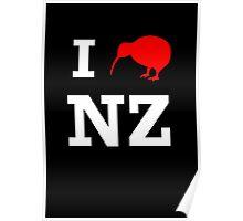 I Love New Zealand (Kiwi) white design Poster