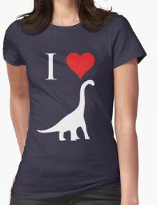 I Love Dinosaurs - Brachiosaurus (white design) Womens Fitted T-Shirt