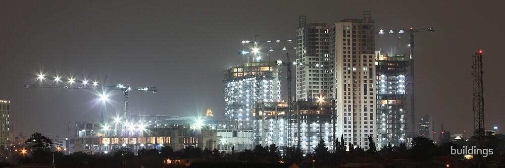Kota Kasablanka (under construction, by night) by buildings