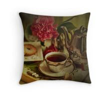 Morning Coffee on a Winter's Day Throw Pillow