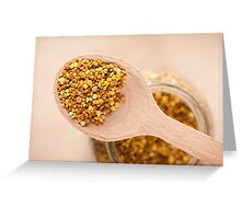 pollen grains portion on wooden spoon Greeting Card