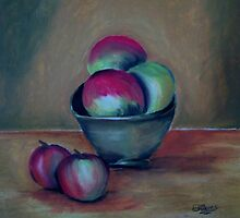Clay Bowl of Fruit by Debbie  Adams