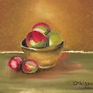 Clay Bowl of Apples by Mitch Adams