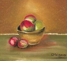 Clay Bowl of Apples by Debbie  Adams