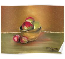 Clay Bowl of Apples Poster