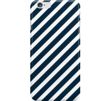 Midnight Blue & White Christmas Candy Cane Diagonal Stripe iPhone Case/Skin