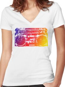 Old School Boombox Women's Fitted V-Neck T-Shirt