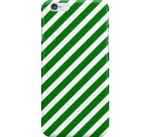 Christmas Green & White Candy Cane Diagonal Stripe iPhone Case/Skin