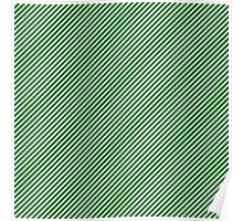 Christmas Green & White Candy Cane Stripe Poster