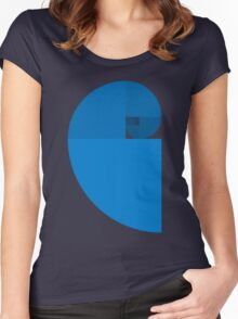 Golden Ratio Spiral - Blue Sections Women's Fitted Scoop T-Shirt