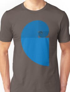 Golden Ratio Spiral - Blue Sections Unisex T-Shirt
