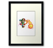 """Flower Power"". Mario from the videogame Super Mario Bros by Nintendo. Framed Print"