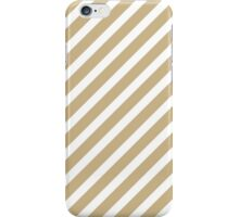 Christmas Gold & White Candy Cane Diagonal Stripe iPhone Case/Skin