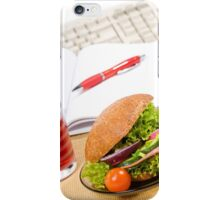 Sandwich with vegetables and juice  iPhone Case/Skin