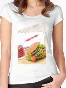 Sandwich with vegetables and juice  Women's Fitted Scoop T-Shirt