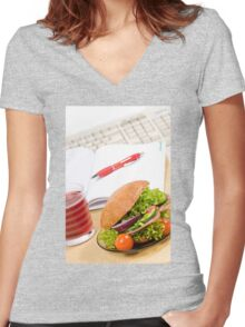 Sandwich with vegetables and juice  Women's Fitted V-Neck T-Shirt