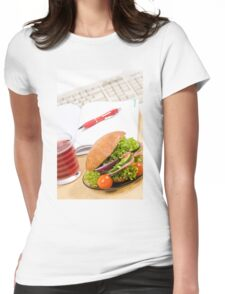 Sandwich with vegetables and juice  Womens Fitted T-Shirt