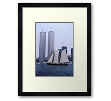 "The Twin Towers With The Schooner ""America"". Taken Juring The Parade Of Sail - Bicentennial Celebrations New York 4th July 1976.By Terry Fellows Crew Member On Tall Ship ""Phoenix"". Framed Print"
