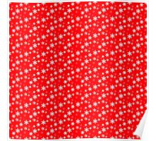 White Snowflake On Christmas Red Poster