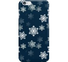 White Snowflake On Christmas Blue iPhone Case/Skin