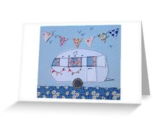 Retro white caravan  Greeting Card